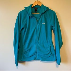 The north face turquoise fleece hoodie jacket XL